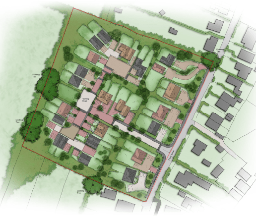 Birds-eye view of the proposed erection of new dwellings