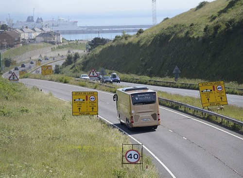 Traffic approaching Dover with a 40MPH speed restriction in place