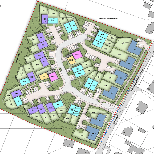 Birds eye view of the proposed development