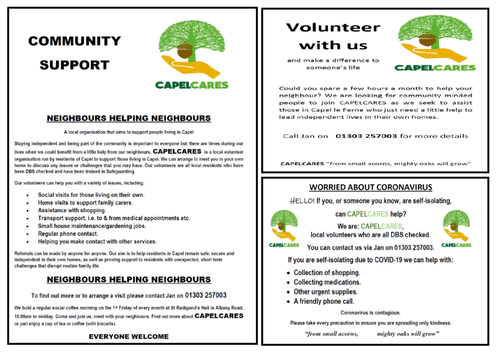 CapelCares Community Support - Neighbours Helping Neighbours poster