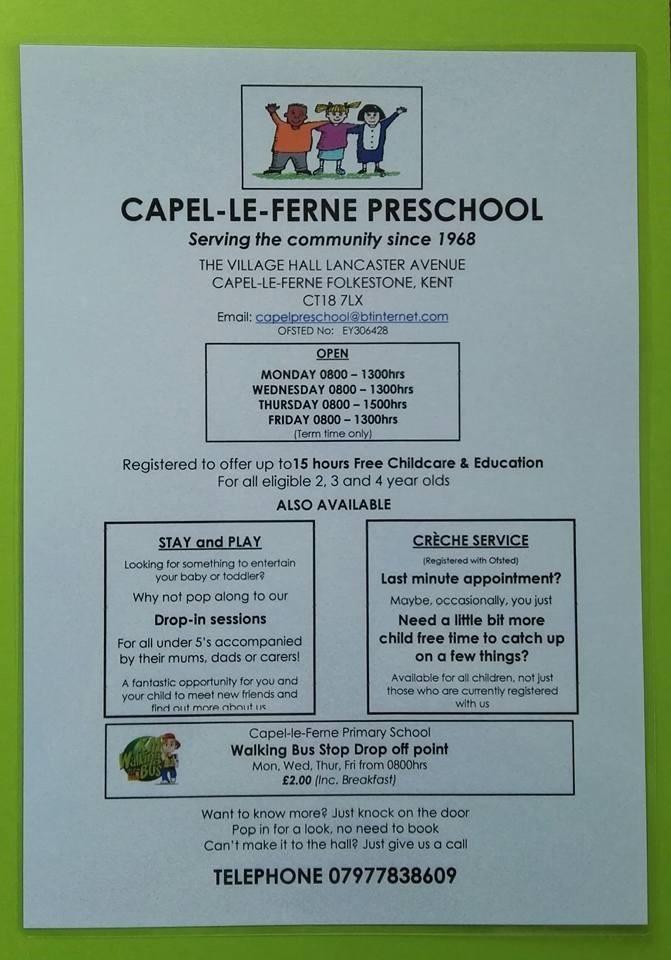 Capel-le-Ferne Pre-School poster