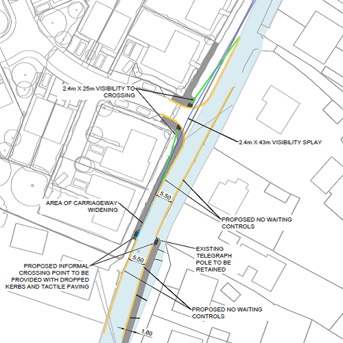 Diagram illustrating proposed addition of yellow lines to Capel Street