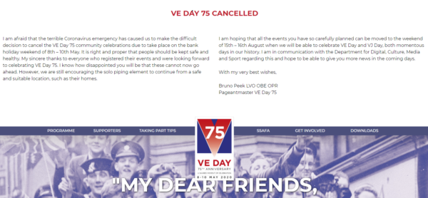 VE DAY 75 cancellation of events picture